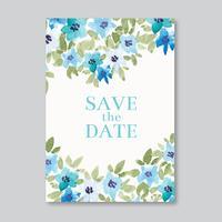 Cartão de casamento em aquarela de mão vetor