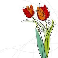 desenho de tulipa em ilustração vetorial de fundo branco
