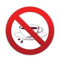 bebidas quentes não são permitidas. nenhum ícone de xícara de café. sinal de proibição de formato redondo vermelho vetor