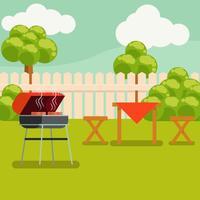 Vetor de ilustração de churrasco de quintal