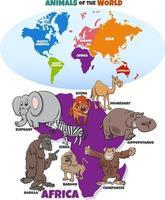 ilustração educacional com animais africanos e mapa de continentes vetor