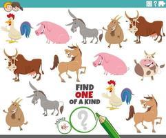 jogo único para crianças com animais de fazenda de desenho animado vetor