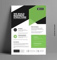 modelo de layout de folheto verde e preto em tamanho A4. vetor