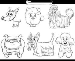 Conjunto de personagens de quadrinhos de cães de desenhos animados de raça pura preto e branco