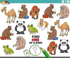 Um jogo único para crianças com animais fofos de desenho animado vetor