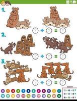 tarefa educacional de adição matemática com personagens de cães vetor