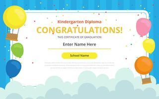 Modelo de certificado de diploma de jardim de infância vetor