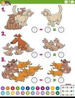 tarefa educacional de subtração matemática com cães de desenho animado vetor