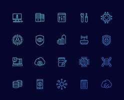 comunicação, tecnologia e ícones de TI, vetor linear set.eps