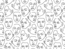 padrão sem emenda com retratos femininos. um desenho de linha. vetor