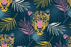 padrão sem emenda tropical com folhas de palmeira e leopardo. vetor