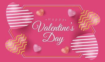 banner feliz dia dos namorados com corações luxuosos brancos rosa e amarelos vetor