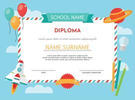 Modelo De Diploma De Jardim De Infância vetor