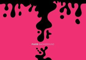 fluido preto abstrato ou ondas dinâmicas líquidas caem no fundo rosa. estilo mínimo. vetor