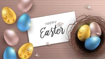 saudação fundo de Páscoa com ovos de Páscoa realistas. vista superior com espaço de cópia. vetor