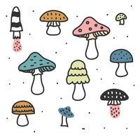 Conjunto de vetores de cogumelos
