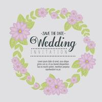 cartão com guirlanda floral para convite de casamento vetor