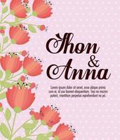 cartão floral com flores para convite de casamento vetor