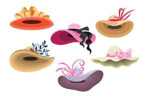 Chapéus de cor Derby definir moda para mulher vetor