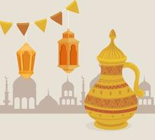 Cartão de celebração eid al adha com jarra dourada e lâmpadas penduradas vetor