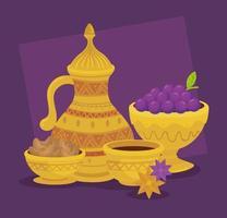 Cartão de celebração eid al adha com jarra dourada e uvas vetor