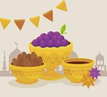 Cartão de celebração eid al adha com frutas e comida em taças de ouro vetor