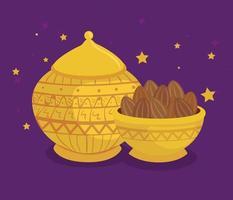 Cartão de celebração eid al adha com tigelas douradas e comida vetor