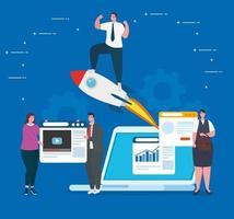 banner de conceito de negócio de inicialização com empresários vetor