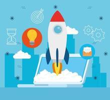 banner de conceito de negócio de inicialização com lançamento de foguete vetor
