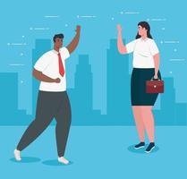 felizes empresários inter-raciais conversando vetor