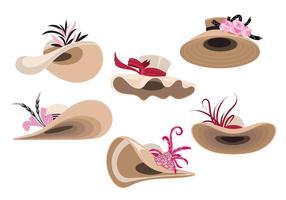 Conjunto de ilustração de mulher Derby Chapéus vetor