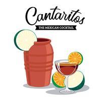 Refrescante Cantaritos O Cocktail Mexicano vetor