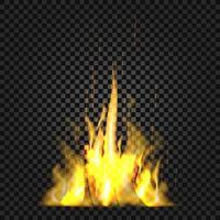 chamas de fogo realistas em fundo preto vetor