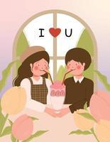 cartão de feliz dia dos namorados com um lindo casal em um encontro no café ilustração vetorial vetor