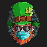rosto de duende de São Patrício com óculos escuros e máscara médica, ilustração em alta qualidade e sombras para designs do Dia de São Patrício vetor