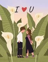 cartão de feliz dia dos namorados com casal fofo na ilustração vetorial de campo de lírio vetor