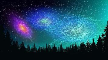 constelações brilhantes, galáxias no céu escuro e estrelado acima da floresta de pinheiros vetor