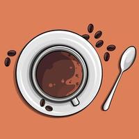 hora para uma imagem vetorial de café apetitosa, xícara de café e colher vetor