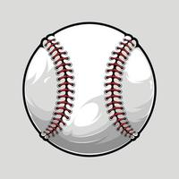 bola de beisebol isolada em fundo cinza, ilustrada em alta qualidade, sombras e luzes, pronta para uso em seus projetos de esporte vetor