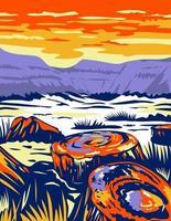 petrified forest national park nos condados de navajo e apache no arizona arte de pôster wpa