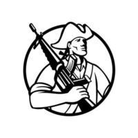 patriota americano com mascote de rifle de assalto vetor