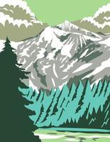 Parque Nacional North Cascades com Goode Mountain no estado de Washington, estados unidos, arte em pôster wpa vetor