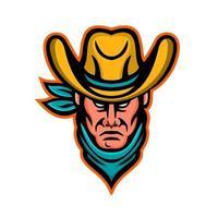 mascote cabeça de cowboy americano