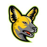 mascote de vista lateral de cabeça de cachorro selvagem africano