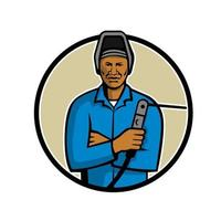mascote do soldador afro-americano vetor
