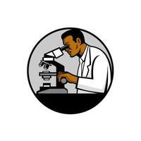 cientista afro-americano ou círculo de pesquisador de ciências retrô vetor