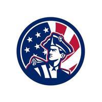 Soldado revolucionário americano com o círculo da bandeira das estrelas e listras dos EUA retrô