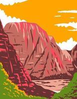 zion canyon no parque nacional de zion localizado em utah estados unidos da américa pôsteres wpa