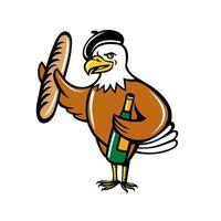 Águia americana usando boina segurando uma baguete e uma garrafa de vinho cartoon vetor