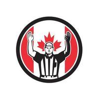 futebol árbitro touchdown bandeira canadense vetor